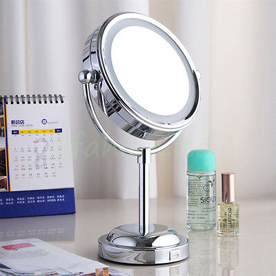 6'' Make Up Cosmetic Shaving Stand Mirror Magnifying LED Illuminated Bathroom