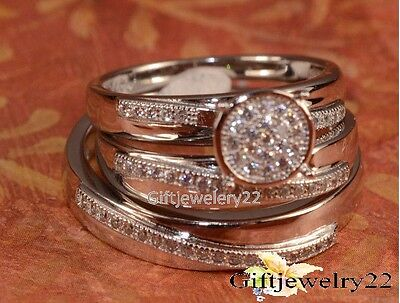 His & Hers 14K White Gold Diamond Wedding Band Engagement Bridal Ring Set
