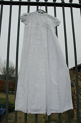 Vintage White Cotton Broderie Anglaise Baby Christening Gown Dress Rob Roy