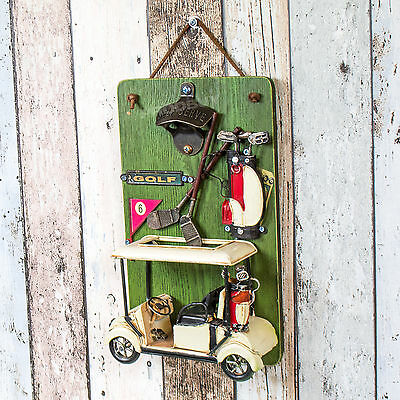 Golf Caddy Club Wooden Wall Mounted Beer Bottle Shaped Cap Opener Catcher Gift