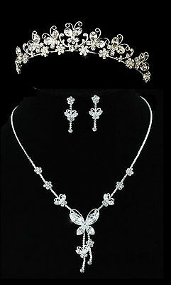 Butterfly Daisy Flower Wedding Bridal Bride Party Prom Necklace Earrings Tiara