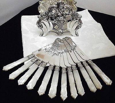 HB&H ~ Set of 12 CARVED Mother of Pearl Handled Dessert Knives w/Buffet Holder!