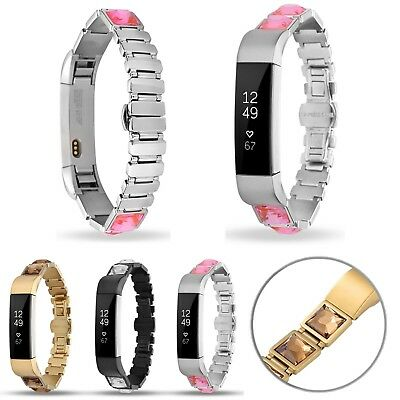 Rhinestone Stainless Steel Link Bracelet Band Strap Watchband For Fitbit Alta/HR