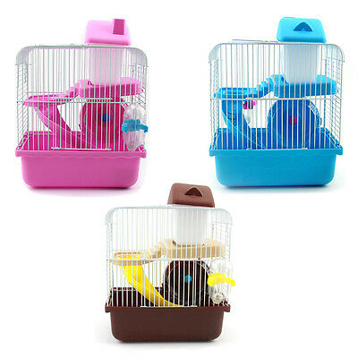 2 Floors Storey Hamster Cage Mouse house with slide disk spinning bottle N1G8