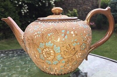 Doulton lambeth Hand Painted Brown Blue Gold White Teapot