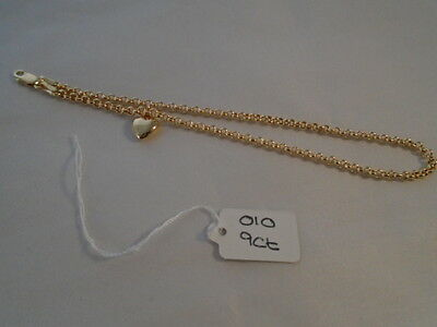 Stunning brand new 9ct gold heart on belcher chain anklet