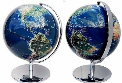 Blue World Globe Educational Satellite View Home Decor Wedding Dad Gift 42x30 cm