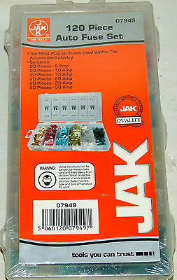 Jak 120 Piece Auto Fuse Set, For Cars, Vans, Motorhomes Etc