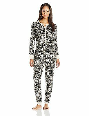 Fruit of the Loom Women's Waffle Thermal Union Suit, Natural Animal Print,