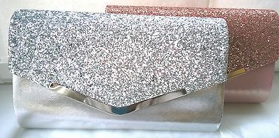 Silver glitter envelope clutch bag for prom, evening, wedding, races