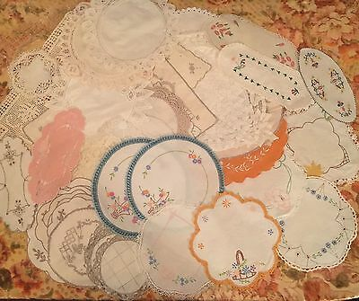 Bulk Lot Of 50 Vintage Doilies White Battenberg Embroidered Napery Table Linen