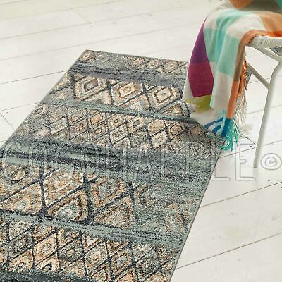 WYATT FADED DIAMOND BLUE BEIGE TRIBAL FLOOR RUG RUNNER 80x300cm **FREE DELIVERY*