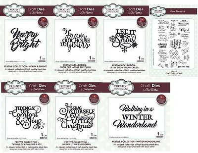 NEW Sue Wilson Craft Dies & Stamps Festive Sentiments Collection 2017 Christmas