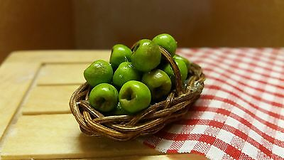 dolls house food 12th scale, basket of cooking apples - by Debbie