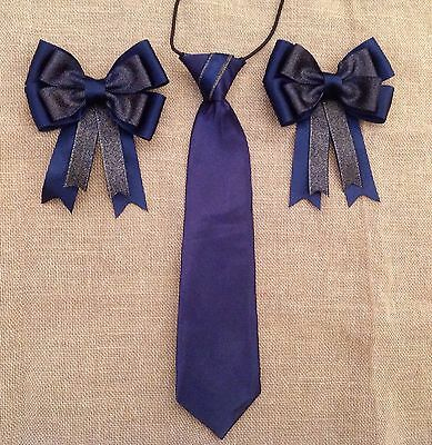 childs equestrian showing set - show tie and bows NAVY AND GOLD L@@K !