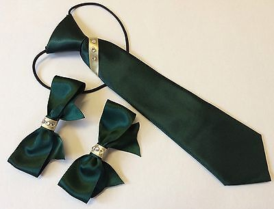 childs equestrian show tie and bows showing set with crystals