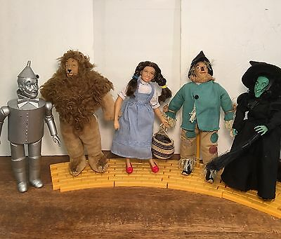 "1987 Turner Wizard Oz 14"" Doll LOT of 9 + Yellow Road Dorothy Lion Witch Tin Man"