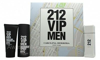 Carolina Herrera 212 Vip Men Gift Set 100Ml Edt + 100Ml Bath & S/g + 150Ml Deo