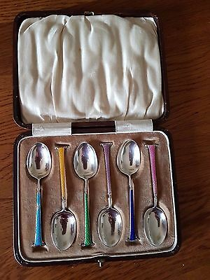 Boxed set of Sterling Silver and Enamel Handled Teaspoons - Stunning!