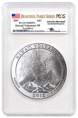 2012 Hawaii Volcanoes 5 oz. Silver ATB Parks PCGS MS69 PL Mercanti SKU47583
