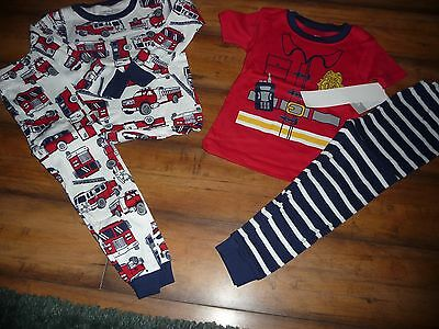 NWT Carters Baby Boy 4 Piece Fire Truck Pajamas Sleep Set Red Navy size 2T NEW