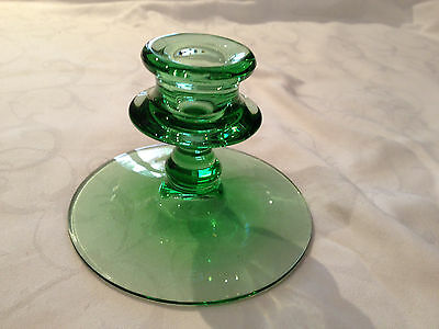 "Green Glass Candle Holder 3.5"" Tall"