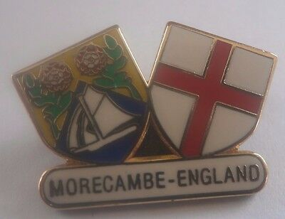 Morecambe Crest And St George Shield Small Football Brooch Pin Badge