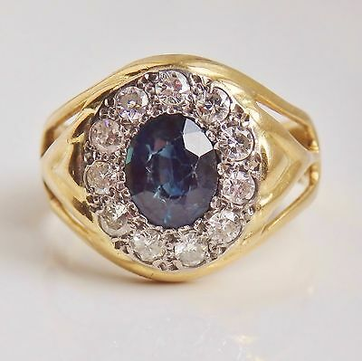 Fine Vintage 18ct Gold Sapphire & Diamond (0.60cts) Cluster Ring c1948; Size 'R'
