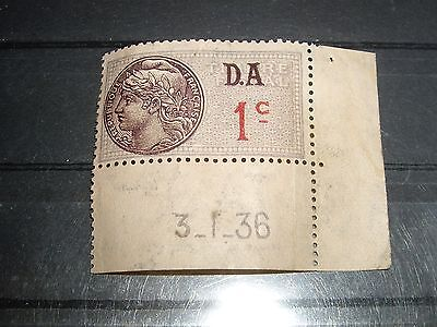 FRANCE timbre fiscal  1 centime  1936-42  D.A.   neuf  numero 169
