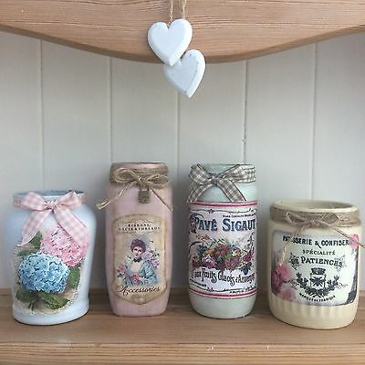 French Vintage Style Shabby Chic Jar  -  Choice of 4 Designs (219/0/1/2)