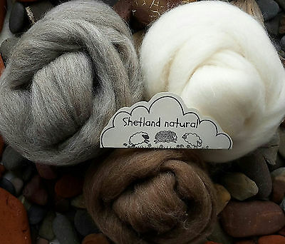 100% Shetland Natural Wool Roving Felting, needle felting, animal colours 120g
