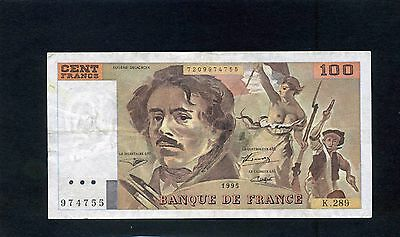 France French 100 Cent Francs Banknote 1995