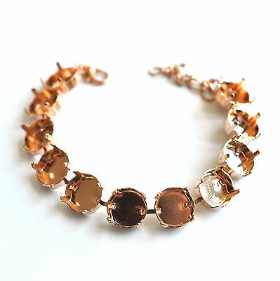 12mm Rivoli Empty Cup Chain 11 Cup Bracelet, Rose Gold Plated Fits 1122