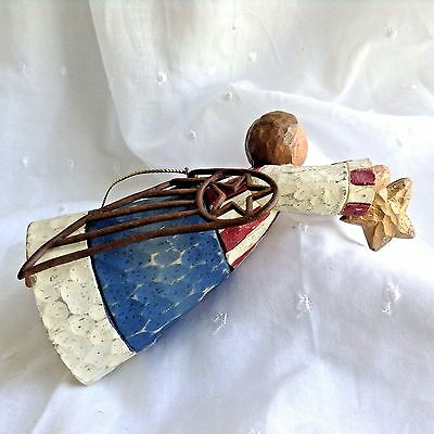 American Folk Art Angel Ornament Patriotic July 4th Red Whte Blue Stars Stripes