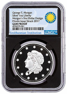 (2017) Smithsonian Morgan First Silver Dollar 1 oz NGC GEM Proof Black SKU47350