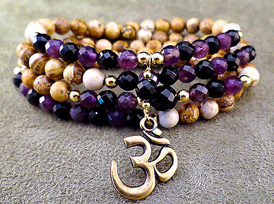 108 bead picture jasper, amethyst and onyx necklace wrap bracelet w/ bronze OM
