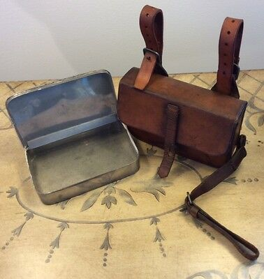 Vintage James Dixon & Sons Hunting Silverplate Sandwich Box & Leather Pouch