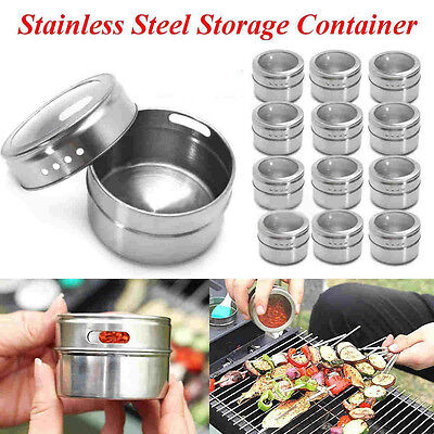 Magnetic Spice Tins Stainless Steel Storage Container Jars Clear Lid %