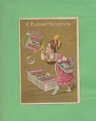 LADY BLOWS BUBBLES Using SOAPINE Soap Victorian Trade Card--PROVIDENCE, RI