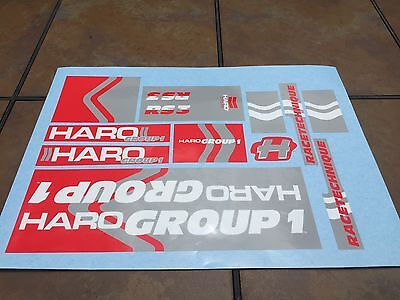 Old school BMX Haro RS3 Group 1 stickers for red / gray frame fork bars decals