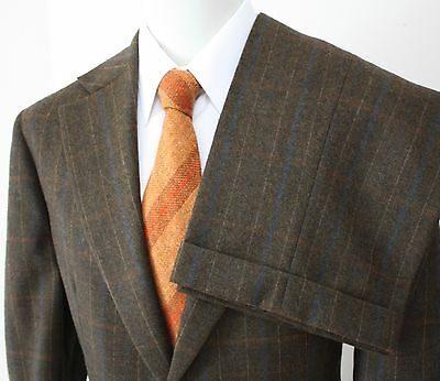 Vtg 70s 1973 Brown Wool Plaid 2pc Suit Men's Jacket 44R Pants 34x30 EUC USA