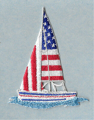 """Sailboat - Sailing - Patriotic - Embroidered Iron On Applique Patch - 2 7/8""""H"""