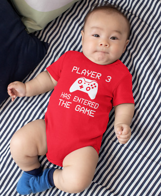 Player 3 Has Entered The Game Baby Grow Body Suit Vest Funny Geeky Humour