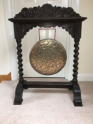 Large Antique  Carved Ebonised Oak Dinner Gong with Bronze Gong