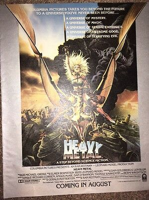 Vintage 1981 Heavy Metal Movie Cinema Animation Ad Pinup Poster Columbia Picture