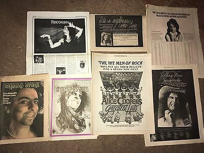7 Lot Vintage Alice Cooper Love It To Death Nightmare Ad Pinup Poster Cover Feat
