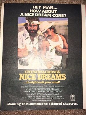 Vintage 1981 Cheech & Chong Nice Dreams Movie Ad Pinup Poster Columbia Pictures