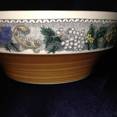 "Goebel Burgund Round Serving Bowl 8 3/4"" Yellow Blue Grey Floral Rust Rim"