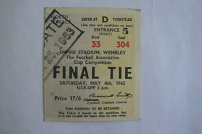 1963 Leicester V Man Utd Fa Cup Final Ticket