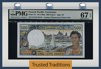 TT PK 1d 1992 FRENCH PACIFIC TERRITORIES 500 FRANCS PMG 67 EPQ POP 3 NONE FINER!